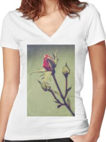 Blushing Bud Women's Fitted V-Neck T-Shirt