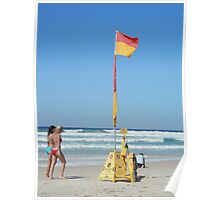 Beach Walkers and The Flag Poster
