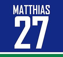 Vancouver Canucks Shawn Matthias Jersey Back Phone Case by RussJericho23