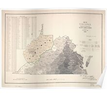 Civil War Maps 1021 Map of Virginia showing the distribution of its slave population from the census of 1860 Poster