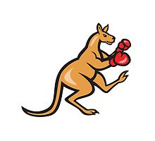 Kangaroo Kick Boxer Boxing Cartoon by patrimonio