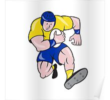 Rugby Player Running Charging Cartoon Poster