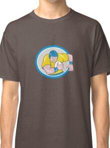 Rugby Player Running Charging Circle Cartoon Classic T-Shirt