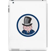 Man Wearing Top Hat Smiling Circle Cartoon iPad Case/Skin