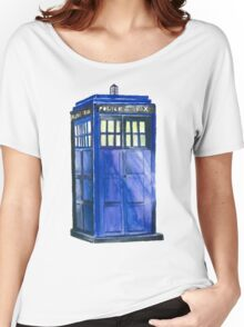 The TARDIS - Doctor Who Inspired Watercolour Women's Relaxed Fit T-Shirt