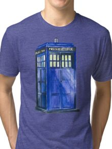The TARDIS - Doctor Who Inspired Watercolour Tri-blend T-Shirt