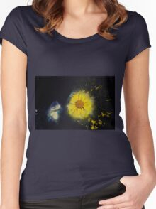 Digitally manipulated image of a white butterfly and yellow flower Women's Fitted Scoop T-Shirt