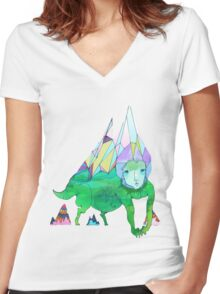 Over The Mountain Women's Fitted V-Neck T-Shirt