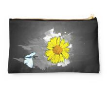 Digitally manipulated image of a white butterfly and yellow flower Studio Pouch