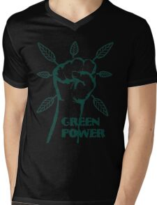 Go Green Power Mens V-Neck T-Shirt