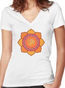 Lotus Om Symbol Women's Fitted V-Neck T-Shirt