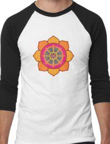 Lotus Buddhist Dharma Wheel Men's Baseball ¾ T-Shirt