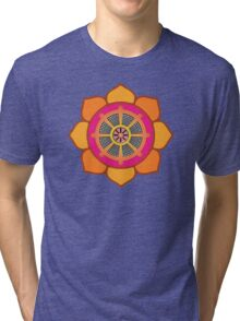 Lotus Buddhist Dharma Wheel Tri-blend T-Shirt