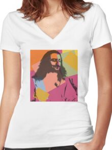 Pop Art Meher Baba Women's Fitted V-Neck T-Shirt