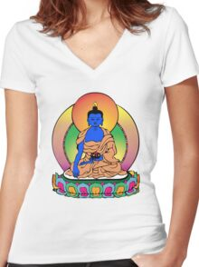Buddhist Blue Buddha Women's Fitted V-Neck T-Shirt