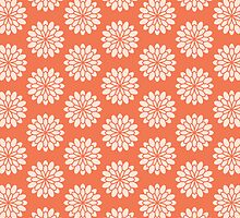 Coral Dahlia Pattern Orange Floral Pink Flower by PatternPrint