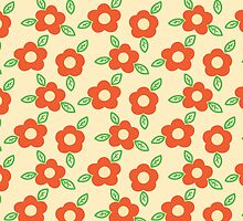Yellow and Coral Floral Pattern Orange Flower by PatternPrint
