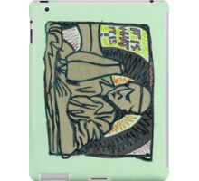 sculpture of the man at a sewing machine iPad Case/Skin