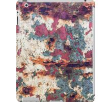 Old rusted barrel with petrol green and white paint iPad Case/Skin