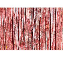 Cracked and softened red board wall Photographic Print