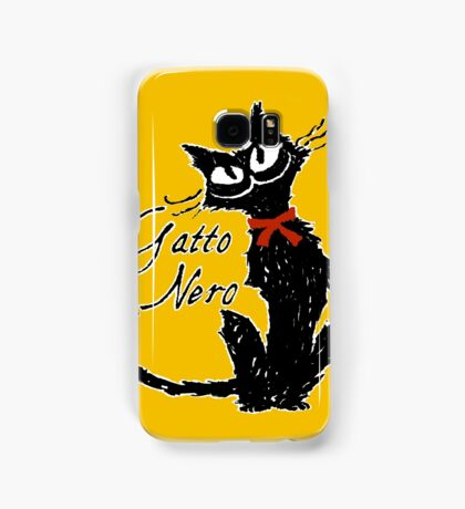 Red ribbon and Black cat Samsung Galaxy Case/Skin