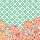 Floral Doodle on Mint Moroccan Lattice by micklyn