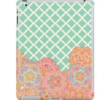 Floral Doodle on Mint Moroccan Lattice iPad Case/Skin