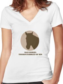 Thoroughbred of Sin Women's Fitted V-Neck T-Shirt