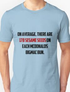 On average, there are 178 sesame seeds on each McDonalds BigMac bun. T-Shirt