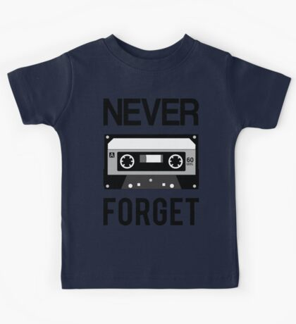NEVER FORGET Cassette - Silicon Valley Parody with Tape Drawing Kids Tee