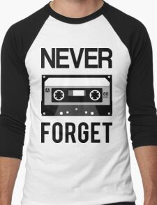NEVER FORGET Cassette - Silicon Valley Parody with Tape Drawing Men's Baseball ¾ T-Shirt