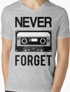 NEVER FORGET Cassette - Silicon Valley Parody with Tape Drawing Mens V-Neck T-Shirt