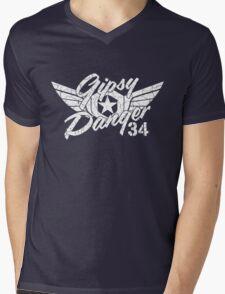 Gipsy Danger White Faded Mens V-Neck T-Shirt