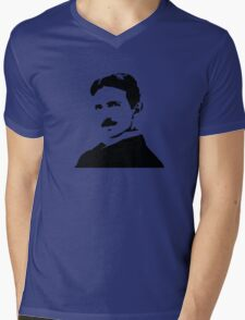 Nikola Tesla Portrait Mens V-Neck T-Shirt
