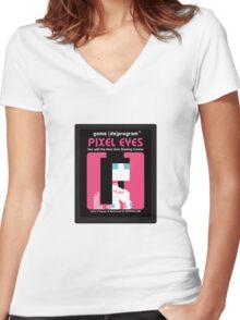 Pixel Eyes Atari Cartridge Women's Fitted V-Neck T-Shirt