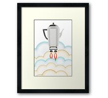 Retro sci fi coffee pot percolator rocket ship Framed Print