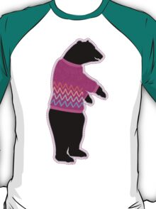 Funny bear wearing a knitted purple sweater T-Shirt