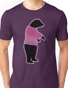 Funny bear wearing a knitted purple sweater Unisex T-Shirt
