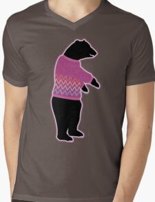 Funny bear wearing a knitted purple sweater Mens V-Neck T-Shirt