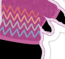 Funny bear wearing a knitted purple sweater Sticker