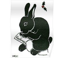 2013 Holiday ATC 15 - Rabbit Looking at the Naughty List Poster