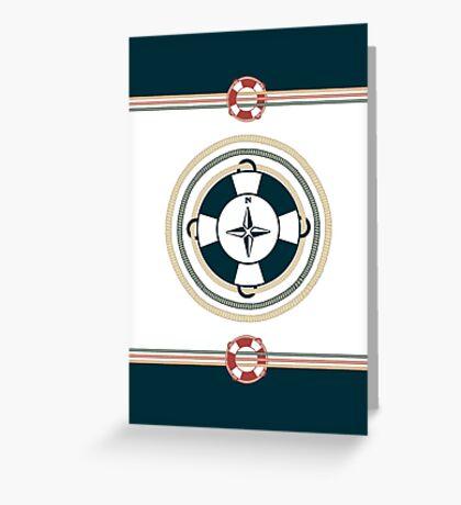 Nautical boating sailing beach life preserver compass Greeting Card