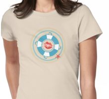 Naughty nautical lipstick kiss sailing boating Womens Fitted T-Shirt
