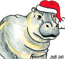 2013 Holiday ATC 17 - Ho Ho Ho Hippo by ArtbyMinda