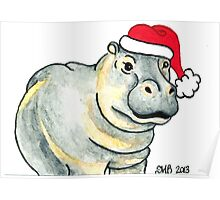 2013 Holiday ATC 17 - Ho Ho Ho Hippo Poster