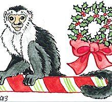 2013 Holiday ATC 18 - Holiday Monkey by ArtbyMinda