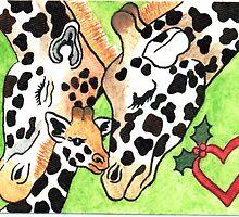2013 Holiday ATC 19 - Holiday Giraffes by ArtbyMinda