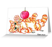 2013 Holiday ATC 20 - Kitten Playing with Ornament Greeting Card