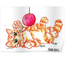 2013 Holiday ATC 20 - Kitten Playing with Ornament Poster