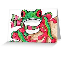 2013 Holiday ATC 21 - Red and Green Frog Greeting Card